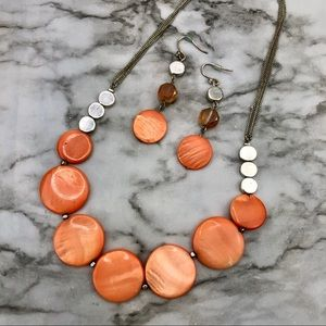 Kenneth Cole Peach Orange Necklace Earring Set